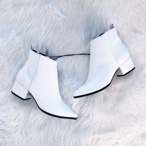 White Block heel booties